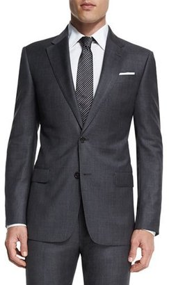 Armani Collezioni G-Line New Basic Sharkskin Two-Piece Wool Suit, Charcoal $1,695 thestylecure.com