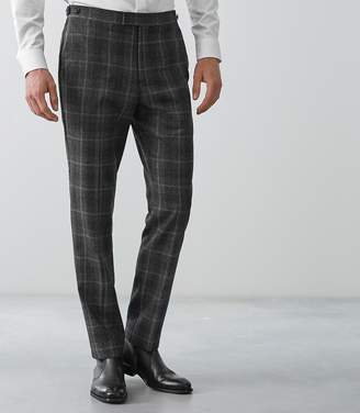 Reiss BONDI SLIM FIT CHECKED TROUSERS Charcoal