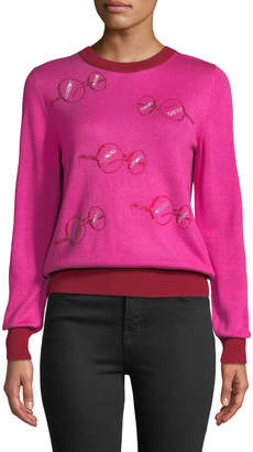 Libertine Iris Apfel Glasses Crewneck Long-Sleeve Cashmere-Silk Sweater