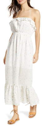 ENGLISH FACTORY Floral Embroidery Cotton Blend Midi Dress