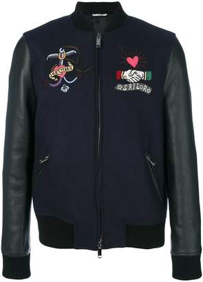 Valentino tattoo embroidered bomber jacket