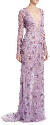Naeem Khan Floral V-Neck Gown