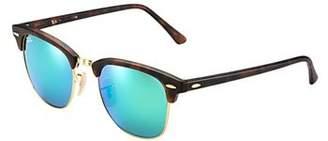 Ray-Ban New Clubmaster Flash RB3016 114519 Tortoise/Grey Mirror Green 51mm Sunglasses