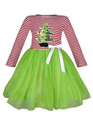 Mia Belle Girls Christmas Themed Striped Christmas Tree Applique Tutu Dress (Toddler & Little Girls)