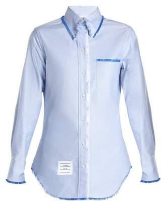 Thom Browne Button Down Collar Cotton Shirt - Womens - Light Blue