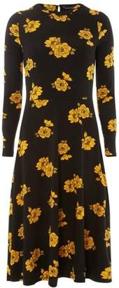 Dorothy Perkins Womens Ochre Floral Print Jersey Midi Fit and Flare Dress