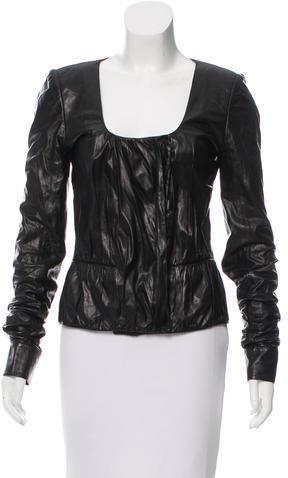 Saint LaurentYves Saint Laurent Leather Ruched Jacket