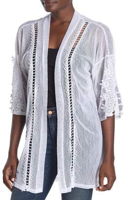 Forgotten Grace Mesh Crochet Lace Knit Trim Duster