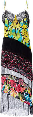 Michael Kors Lace-Contrast Silk Slip Dress