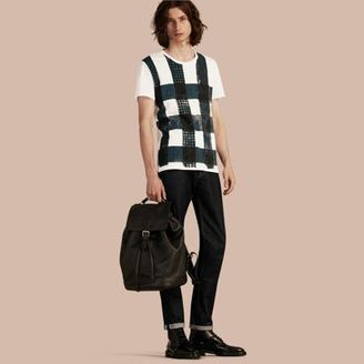 Burberry Textured Check Cotton T-shirt $195 thestylecure.com