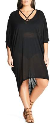 City Chic Strap Detail High/Low Cover-Up Dress