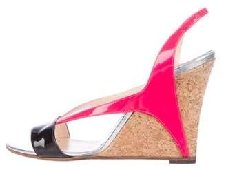 Christian Louboutin Patent Leather Slingback Wedge Sandals