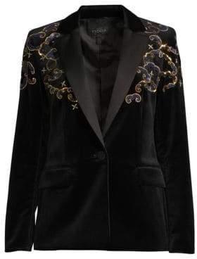 Escada Begasab Velvet Embroidered Tuxedo Jacket
