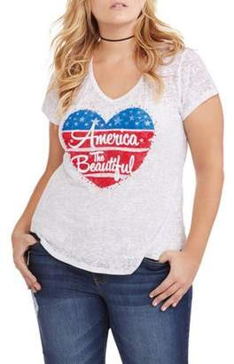 Americana Made in America Juniors' Plus Graphic V-Neck Tee