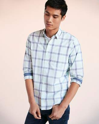 Express Slim Soft Wash Button Collar Plaid Shirt