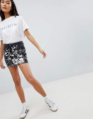 Parisian Festival Denim Mini Skirt With Sequin Front
