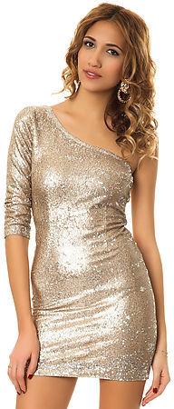 BB Dakota The Crystal One Shoulder Sequin Dress