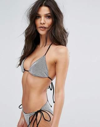 Asos DESIGN Chain Mail Effect Triangle Bikini Top