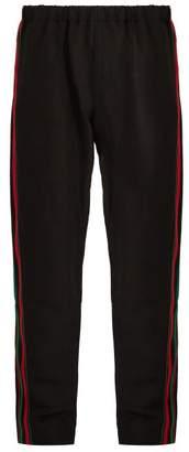 Wales Bonner - Crochet Striped Linen Blend Trousers - Mens - Black