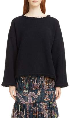 Isabel Marant Farley Fray Edge Wool & Cashmere Blend Sweater