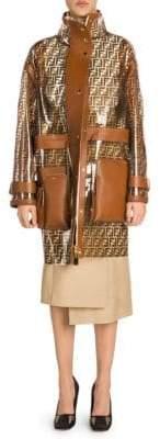Fendi Transparent FF Logo Leather Trim Coat