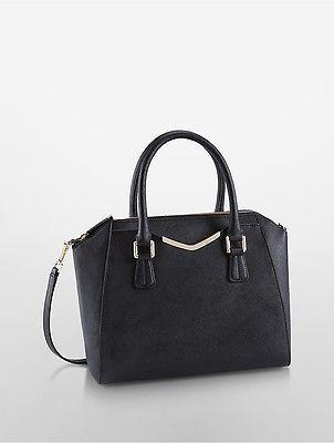 Calvin KleinCalvin Klein Womens Tapered Saffiano Leather Satchel Black/Gold