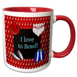 3dRose I love to Bowl, Bowling Pins, Ball, Shoes, and Bag, Red, Blue, and White - Two Tone Red Mug, 11-ounce