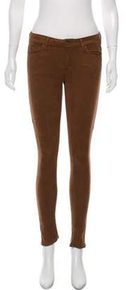 Mother Low-Rise Skinny Pants Brown Low-Rise Skinny Pants