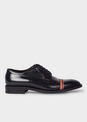 Paul Smith Women's Dark Navy Leather 'Chester' Flexible Travel Shoes With Grosgrain 'Artist Stripe' Detail