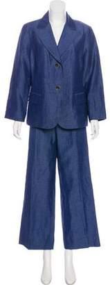 Lafayette 148 Chambray Linen Pantsuit Set