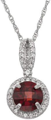 FINE JEWELRY Womens Genuine Red Garnet Sterling Silver Pendant Necklace