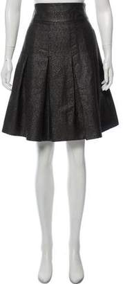 Paule Ka Virgin Wool-Silk Blend Metallic Skirt