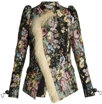Preen by Thornton Bregazzi Yulia Shearling Trimmed Floral Jacquard Jacket - Womens - Black Multi