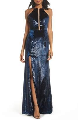 La Femme Open Back Textured Velvet Gown