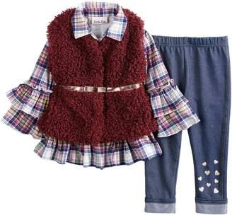 Little Lass Baby Girl Plaid Ruffle Henley, Faux-Fur Vest & Jeggings Set