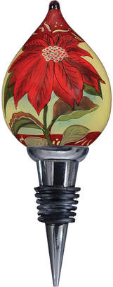 Precious Moments Ne Qwa Art Hand-Painted Blown Glass Poinsettia Wine Stopper