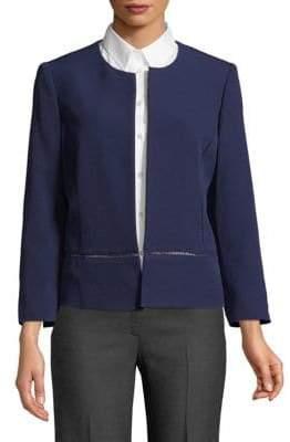 Kasper Suits Peplum Crepe Flyaway Jacket