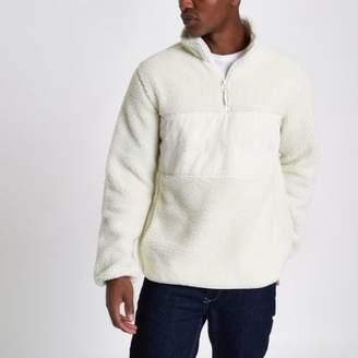 Bellfield Mens Cream pullover fleece jacket