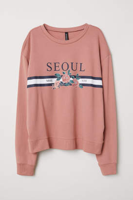 H&M Sweatshirt with Printed Design - Pink