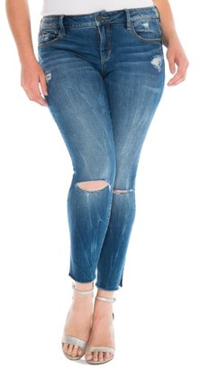 Plus Size Women's Slink Jeans Ripped Crop Skinny Jeans $98 thestylecure.com