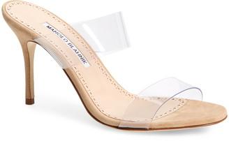 Manolo Blahnik Scolto Transparent Strap Sandal