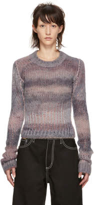 Acne Studios Grey and Pink Cropped Sweater