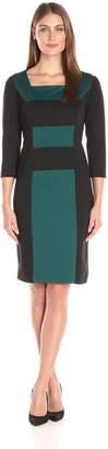 Kasper Women's 3/4 Sleeve Horizontial Colorblock Ponte Dress