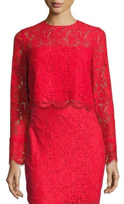 Diane von Furstenberg Yeva Long-Sleeve Lace Top, Poppy $328 thestylecure.com