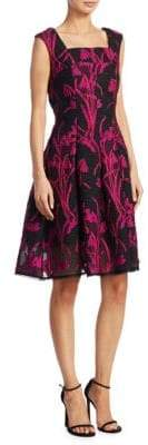 Talbot Runhof Floral Fit-And-Flare Dress