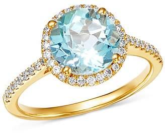 Kiki McDonough 18K Yellow Gold Grace Round Blue Topaz & Diamond Ring