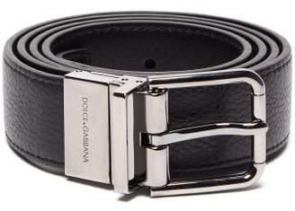 Dolce & Gabbana Reversible Leather Belt - Mens - Black Silver