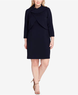 Tahari ASL Plus Size Wrap-Jacket Dress Suit
