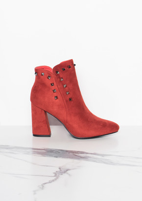 5586fdc90189 Missy Empire Missyempire Wenda Rust Studded Ankle Boots