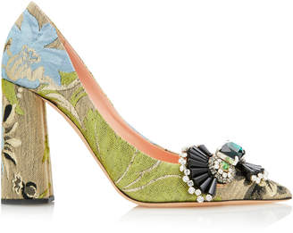 Rochas Brocade Block Heel Pumps